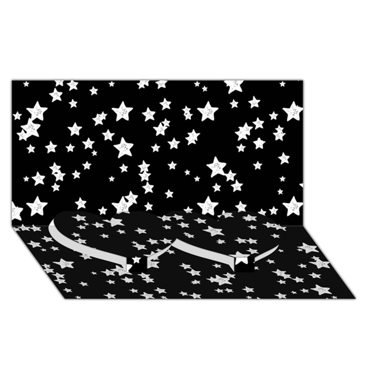 Black And White Starry Pattern Twin Heart Bottom 3D Greeting Card (8x4)