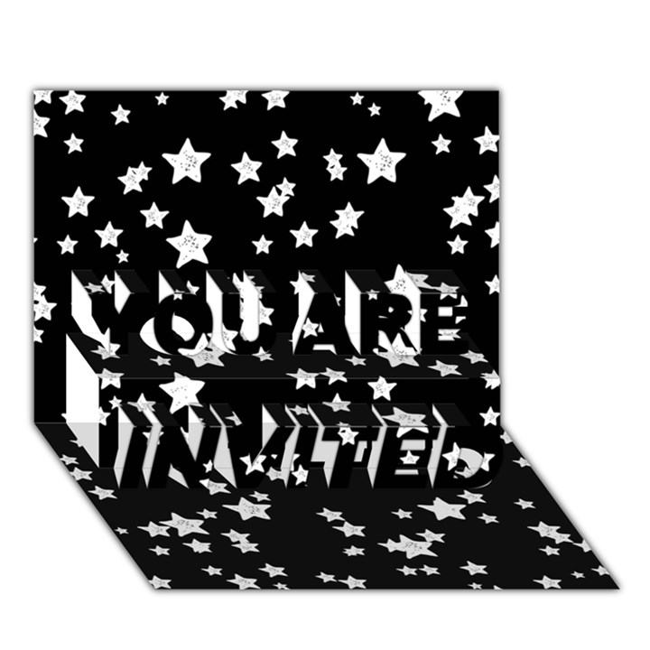 Black And White Starry Pattern YOU ARE INVITED 3D Greeting Card (7x5)