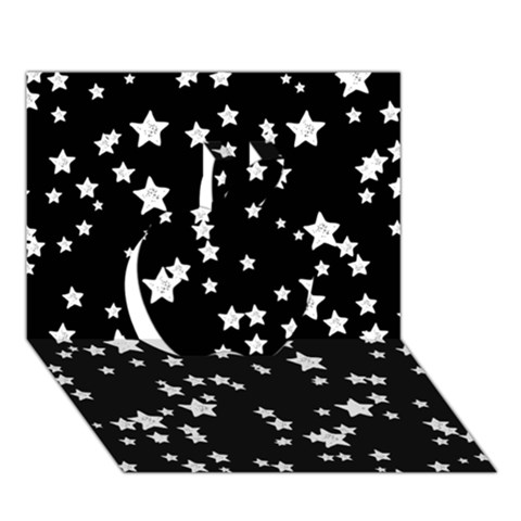 Black And White Starry Pattern Apple 3D Greeting Card (7x5)