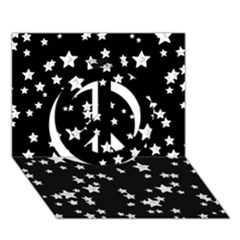 Black And White Starry Pattern Peace Sign 3D Greeting Card (7x5)