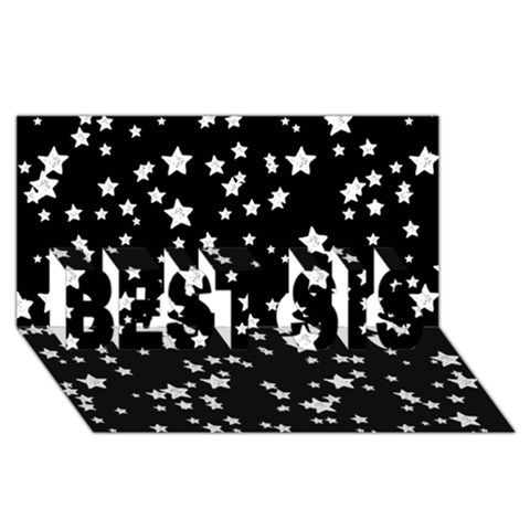 Black And White Starry Pattern BEST SIS 3D Greeting Card (8x4)