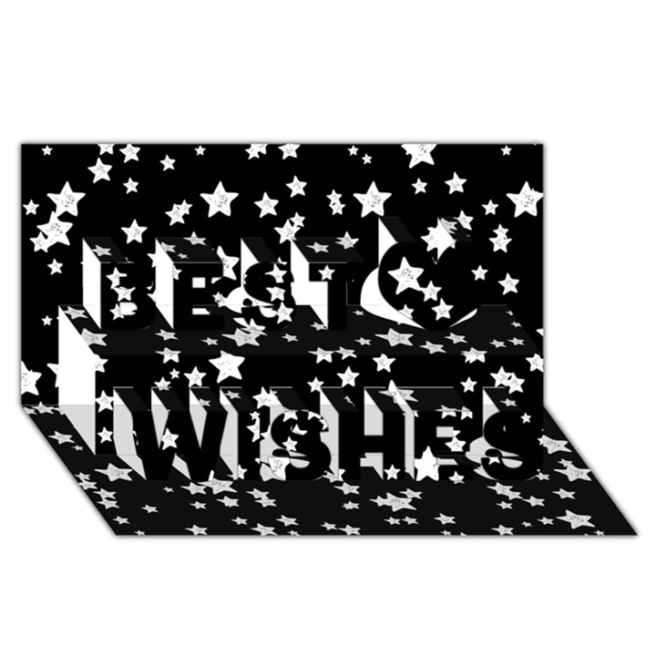 Black And White Starry Pattern Best Wish 3D Greeting Card (8x4)