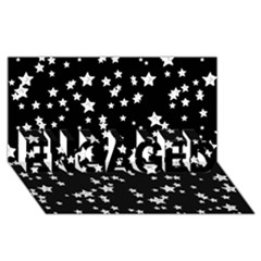 Black And White Starry Pattern Engaged 3d Greeting Card (8x4)