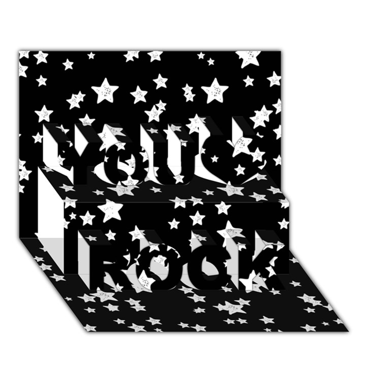Black And White Starry Pattern You Rock 3D Greeting Card (7x5)