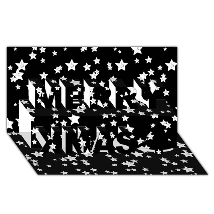 Black And White Starry Pattern Merry Xmas 3D Greeting Card (8x4)