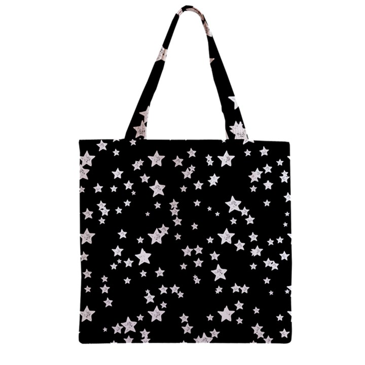 Black And White Starry Pattern Zipper Grocery Tote Bag