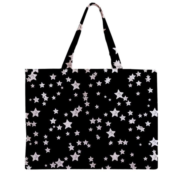 Black And White Starry Pattern Zipper Mini Tote Bag