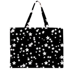 Black And White Starry Pattern Large Tote Bag