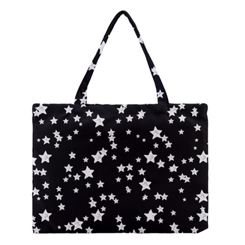 Black And White Starry Pattern Medium Tote Bag