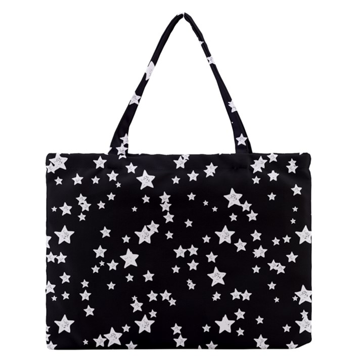 Black And White Starry Pattern Medium Zipper Tote Bag