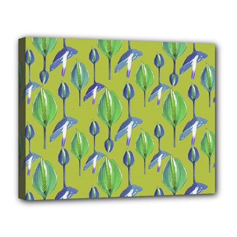 Tropical Floral Pattern Canvas 14  X 11