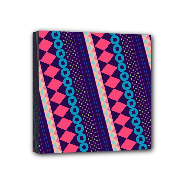 Purple And Pink Retro Geometric Pattern Mini Canvas 4  x 4