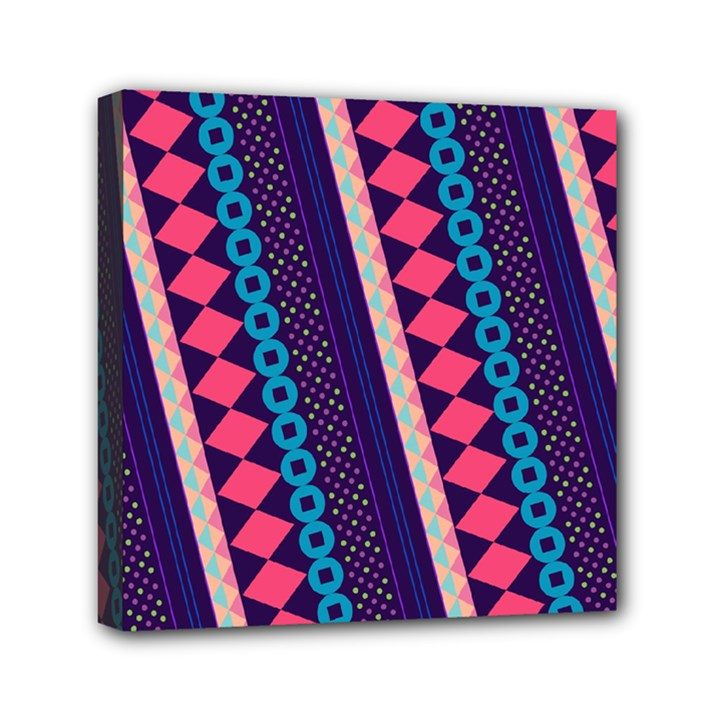 Purple And Pink Retro Geometric Pattern Mini Canvas 6  x 6