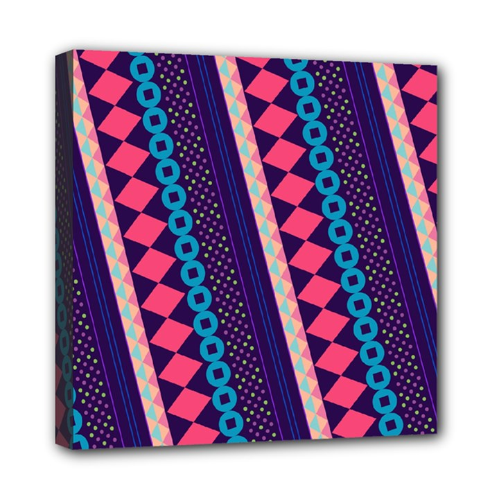 Purple And Pink Retro Geometric Pattern Mini Canvas 8  x 8