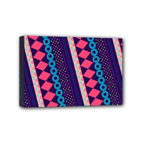 Purple And Pink Retro Geometric Pattern Mini Canvas 6  x 4