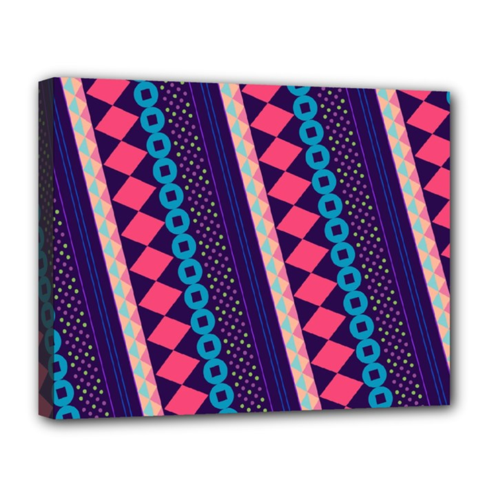 Purple And Pink Retro Geometric Pattern Canvas 14  x 11