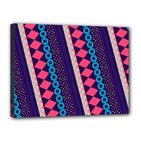 Purple And Pink Retro Geometric Pattern Canvas 16  x 12