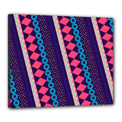 Purple And Pink Retro Geometric Pattern Canvas 24  x 20
