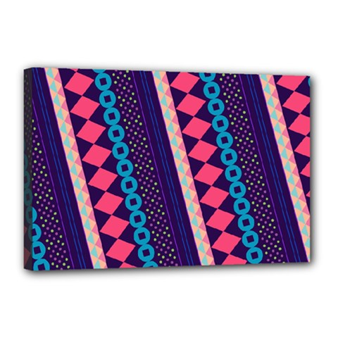 Purple And Pink Retro Geometric Pattern Canvas 18  x 12