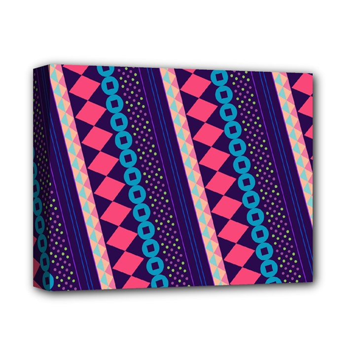 Purple And Pink Retro Geometric Pattern Deluxe Canvas 14  x 11