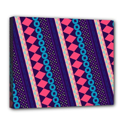 Purple And Pink Retro Geometric Pattern Deluxe Canvas 24  X 20