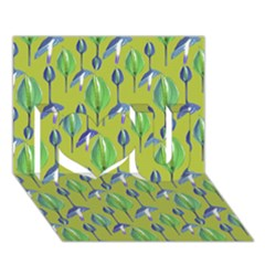 Tropical Floral Pattern I Love You 3D Greeting Card (7x5)