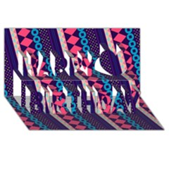 Purple And Pink Retro Geometric Pattern Happy Birthday 3D Greeting Card (8x4)