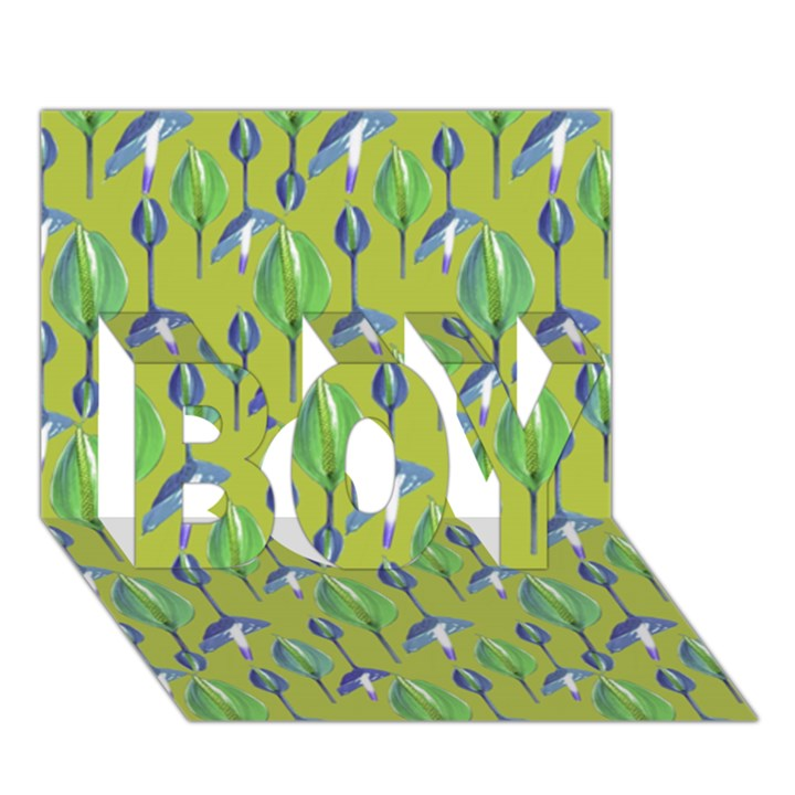 Tropical Floral Pattern BOY 3D Greeting Card (7x5)