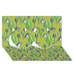 Tropical Floral Pattern Twin Hearts 3D Greeting Card (8x4)