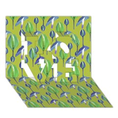 Tropical Floral Pattern LOVE 3D Greeting Card (7x5)