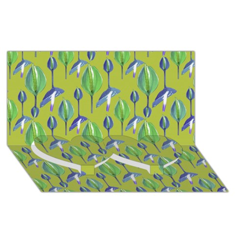 Tropical Floral Pattern Twin Heart Bottom 3D Greeting Card (8x4)