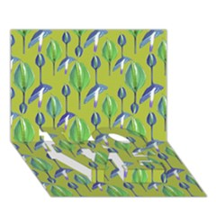 Tropical Floral Pattern LOVE Bottom 3D Greeting Card (7x5)