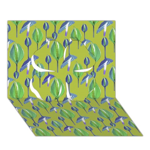 Tropical Floral Pattern Clover 3D Greeting Card (7x5)