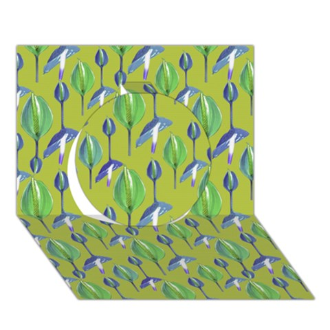 Tropical Floral Pattern Circle 3D Greeting Card (7x5)