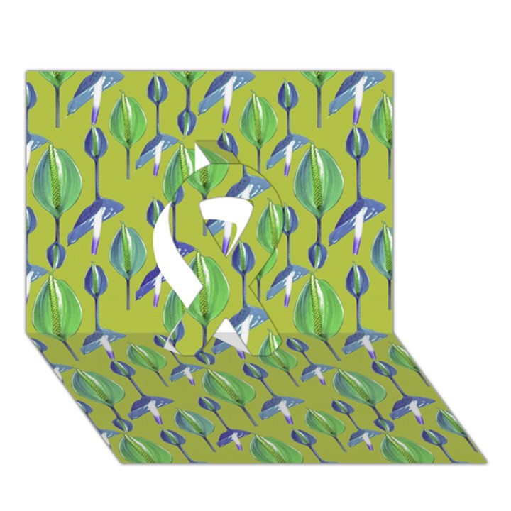 Tropical Floral Pattern Ribbon 3D Greeting Card (7x5)