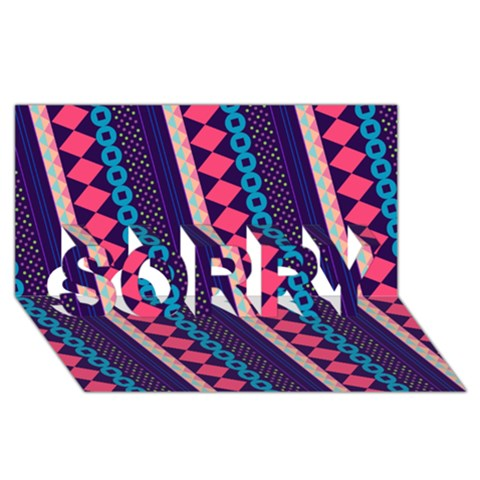 Purple And Pink Retro Geometric Pattern SORRY 3D Greeting Card (8x4)