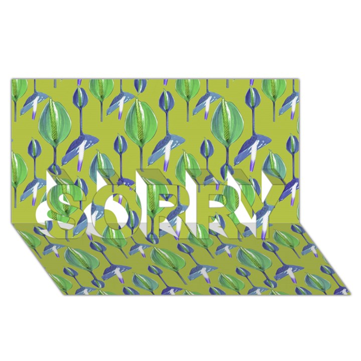 Tropical Floral Pattern SORRY 3D Greeting Card (8x4)