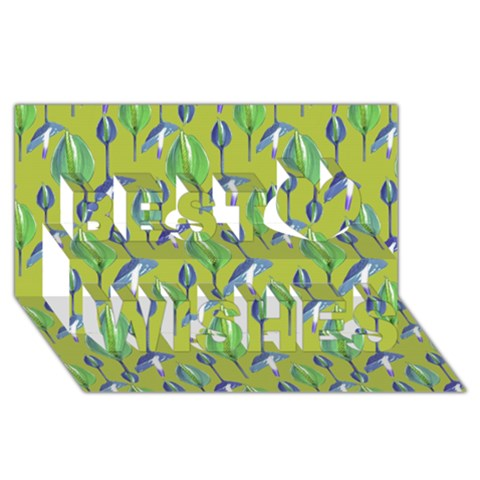 Tropical Floral Pattern Best Wish 3D Greeting Card (8x4)
