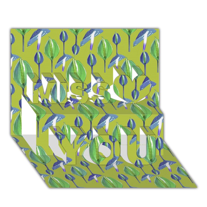 Tropical Floral Pattern Miss You 3D Greeting Card (7x5)