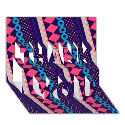 Purple And Pink Retro Geometric Pattern THANK YOU 3D Greeting Card (7x5)