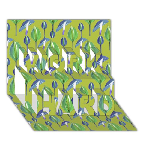 Tropical Floral Pattern WORK HARD 3D Greeting Card (7x5)