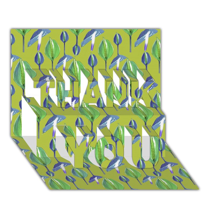 Tropical Floral Pattern THANK YOU 3D Greeting Card (7x5)