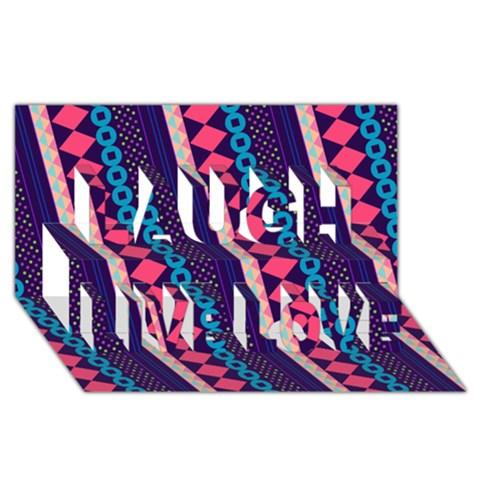 Purple And Pink Retro Geometric Pattern Laugh Live Love 3D Greeting Card (8x4)