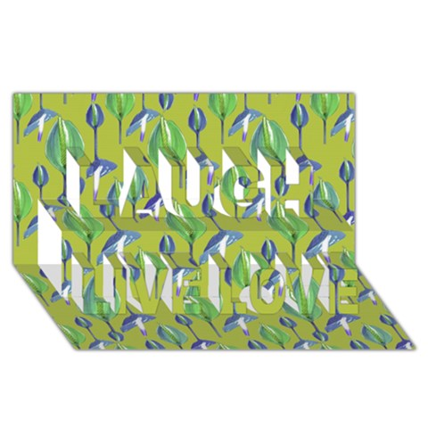 Tropical Floral Pattern Laugh Live Love 3D Greeting Card (8x4)