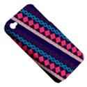 Purple And Pink Retro Geometric Pattern Apple iPhone 4/4S Hardshell Case (PC+Silicone) View5