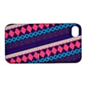 Purple And Pink Retro Geometric Pattern Apple iPhone 4/4S Hardshell Case with Stand View1