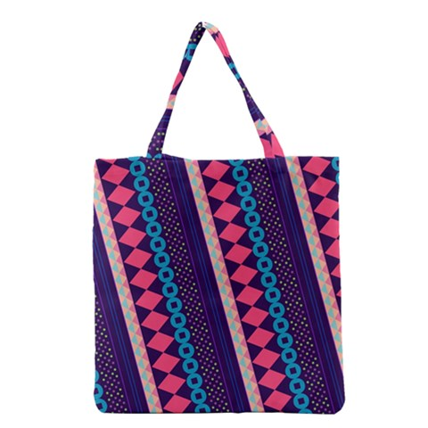 Purple And Pink Retro Geometric Pattern Grocery Tote Bag
