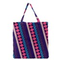 Purple And Pink Retro Geometric Pattern Grocery Tote Bag View1
