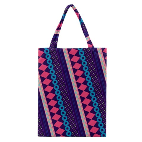 Purple And Pink Retro Geometric Pattern Classic Tote Bag