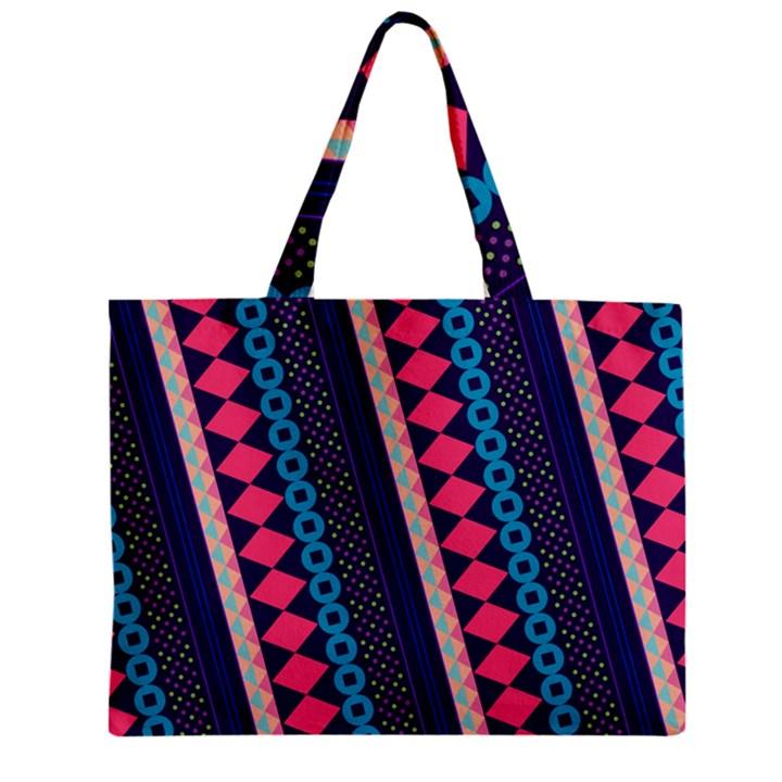 Purple And Pink Retro Geometric Pattern Zipper Mini Tote Bag